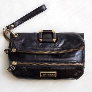 Jimmy Choo Mave Leather Foldover Clutch Wristlet